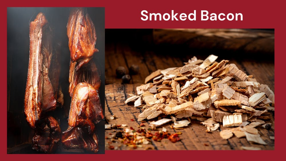 An image that shows smoked bacon and meat next to a picture of wood chips that are used for smoking meat.