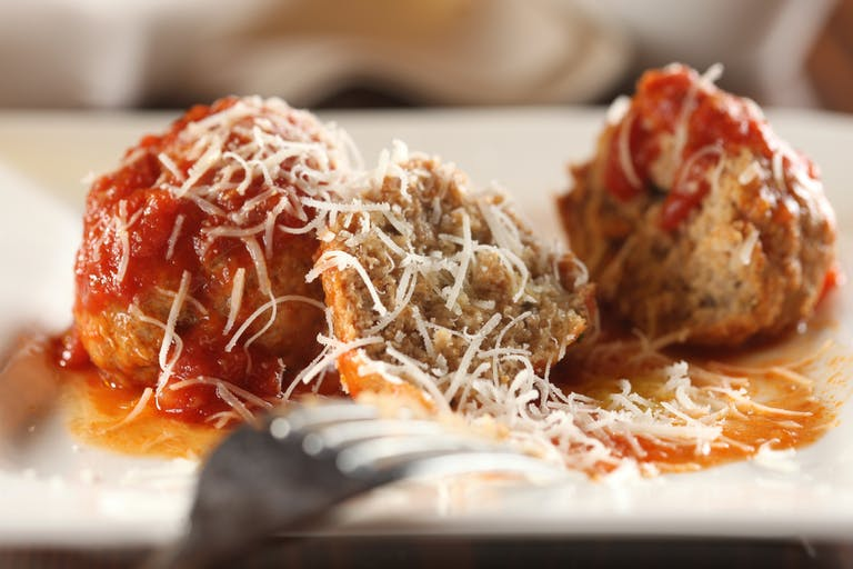 meatball with red sauce and cheese