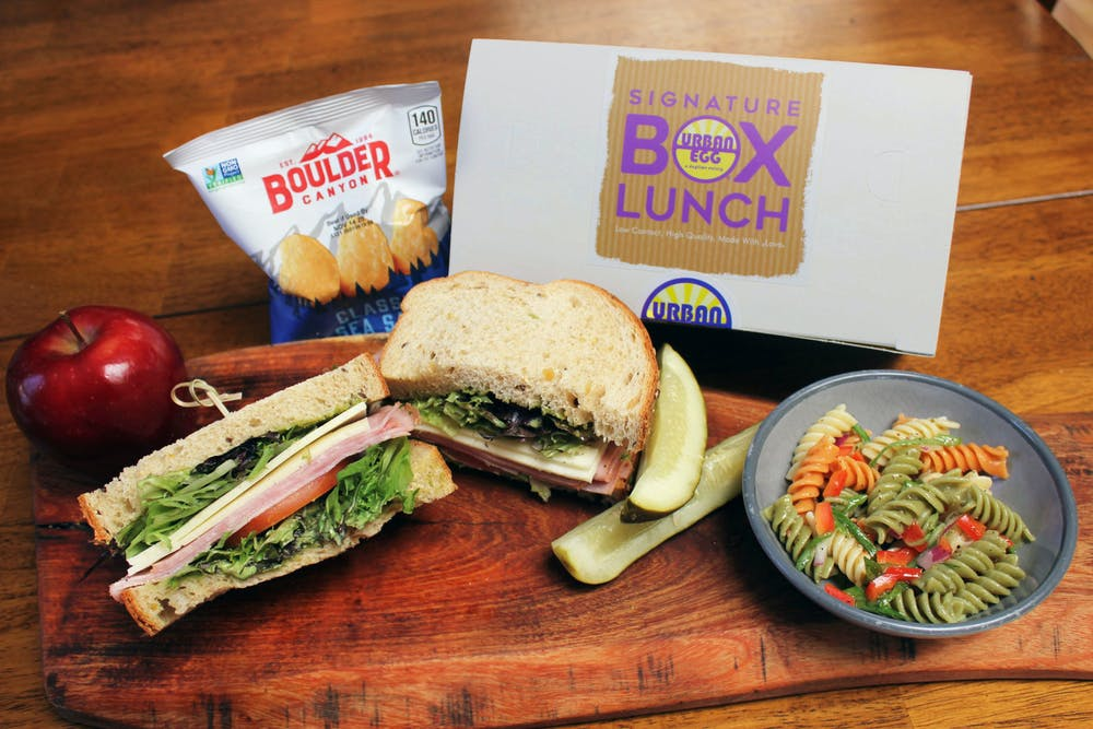 Box Lunch with Sandwich, Apple, Chips, Pickle and Pasta Salad