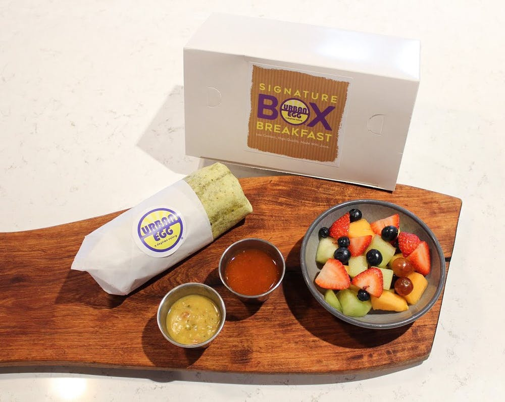 Box Breakfast with Breakfast Burrito, Salsa & Fruit