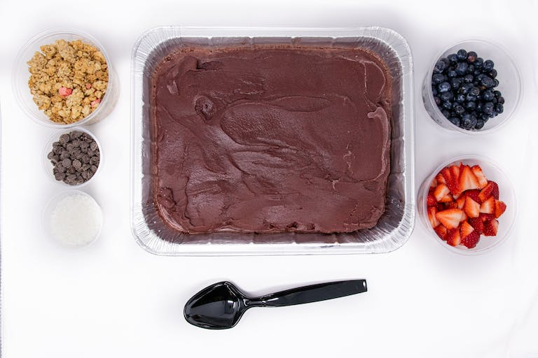a tray of chocolate cake on a plate