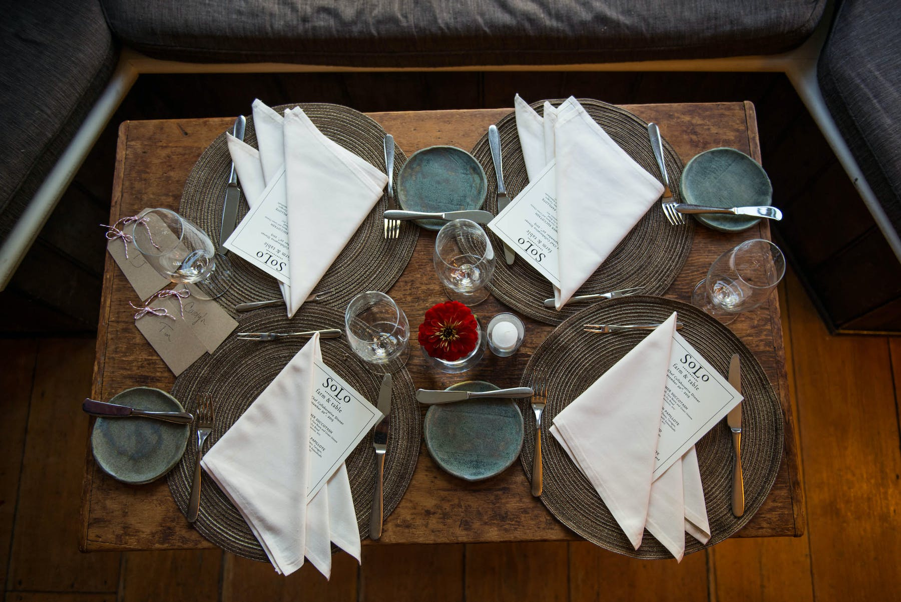 Napkins and cutlery on top of a table