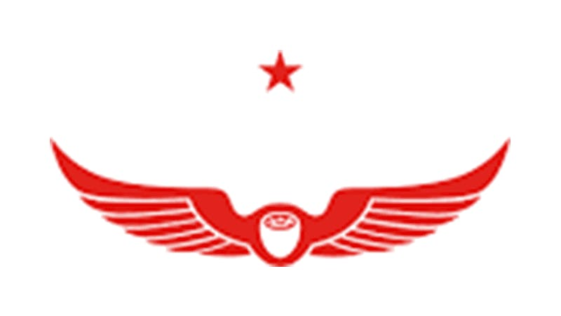 a logo with red wings and a star