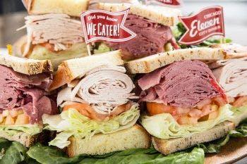 a sandwich cut in half