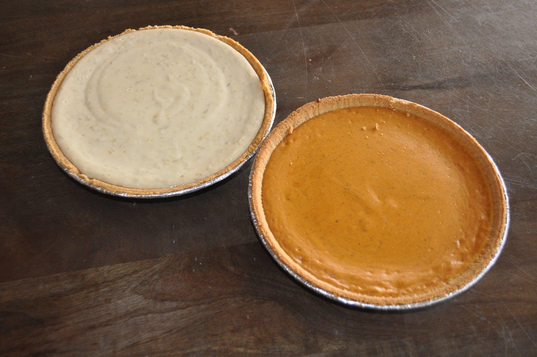 Key Lime Pie & Pumkin Pie on a table