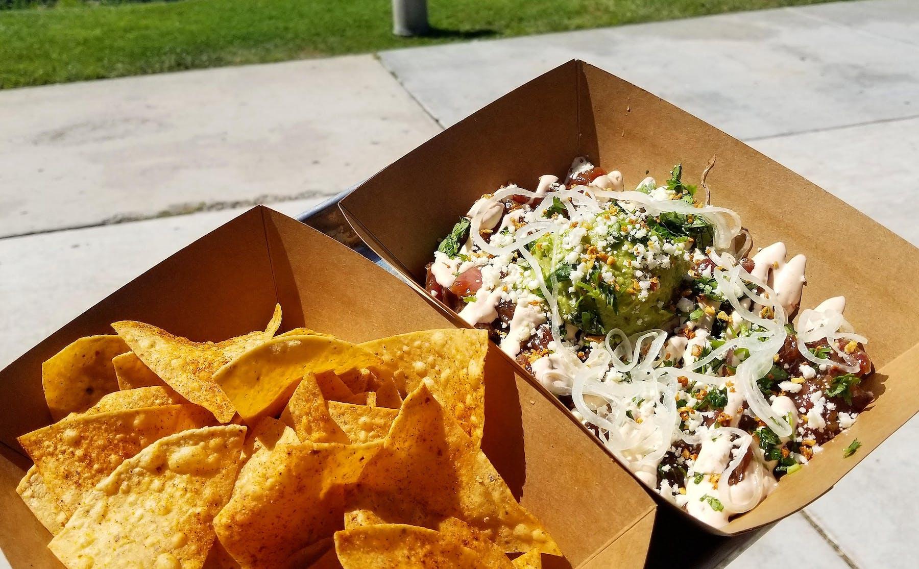 nachos served carton platesin
