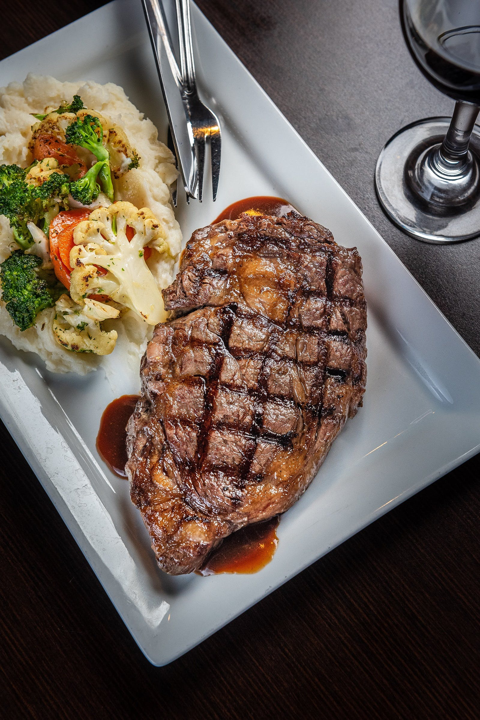 steak and vegetables on a plate