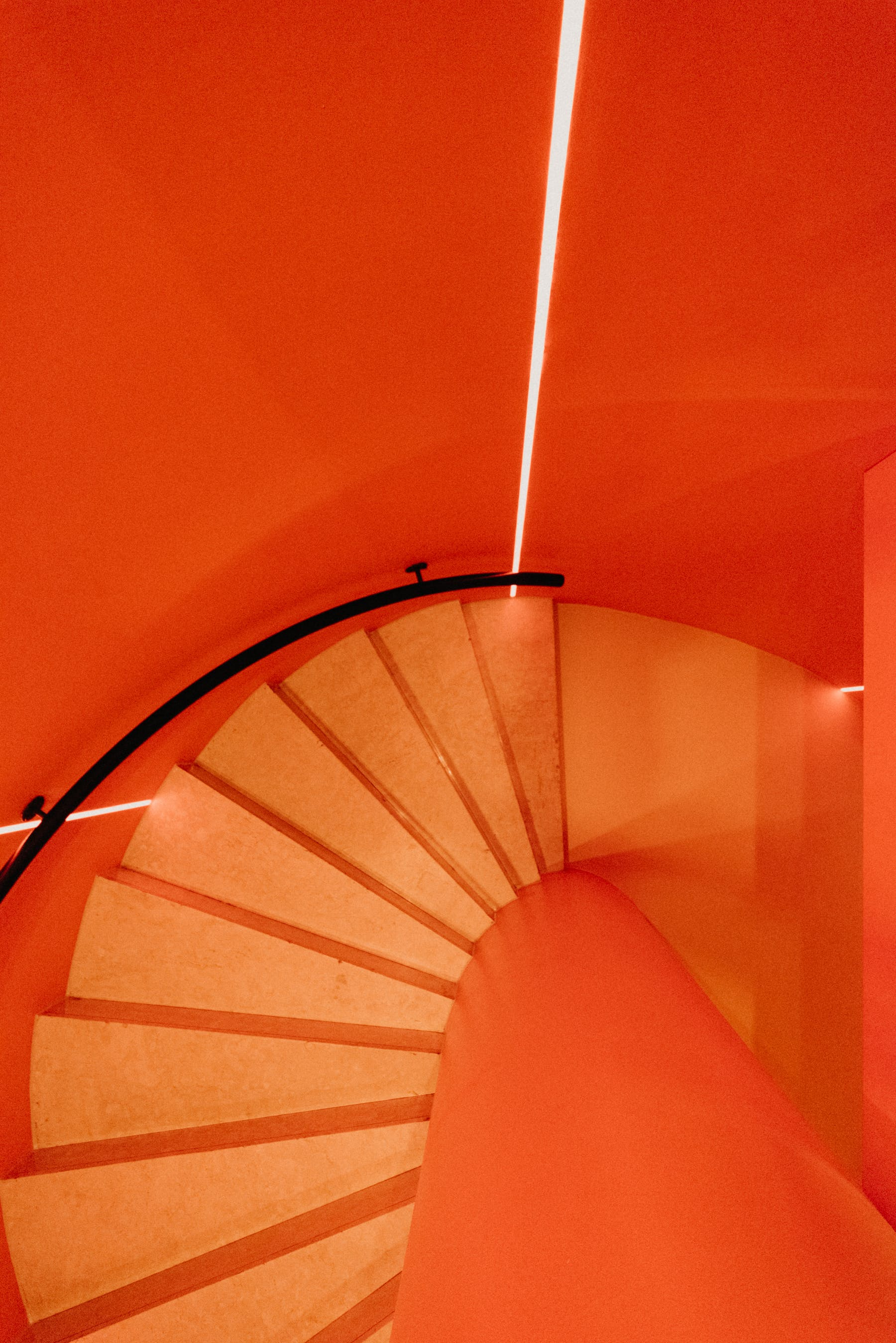 a large orange staircase
