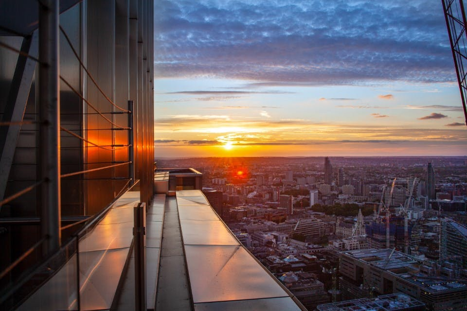 a view of London city at sunset