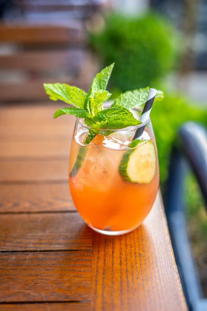 Rosé sangria with cucumber and mint