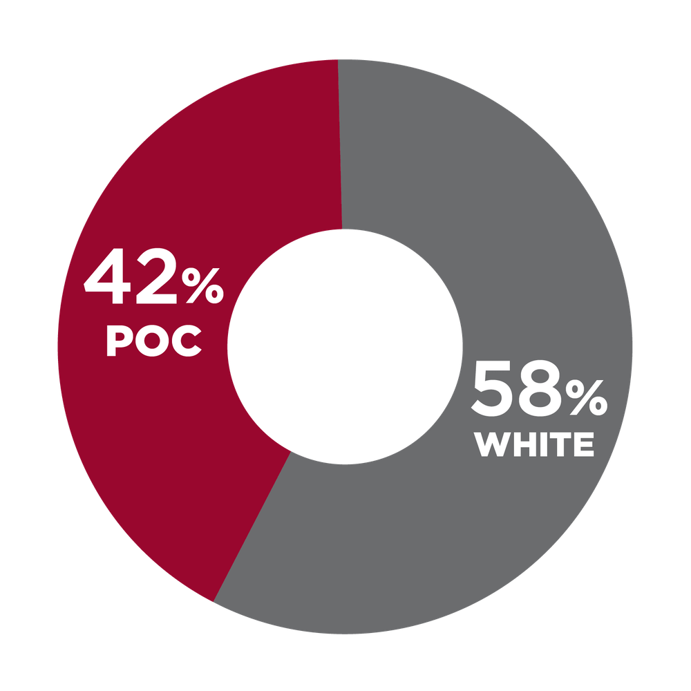 Pie chart showing racial diversity in Operations management 42% POC, 58% white