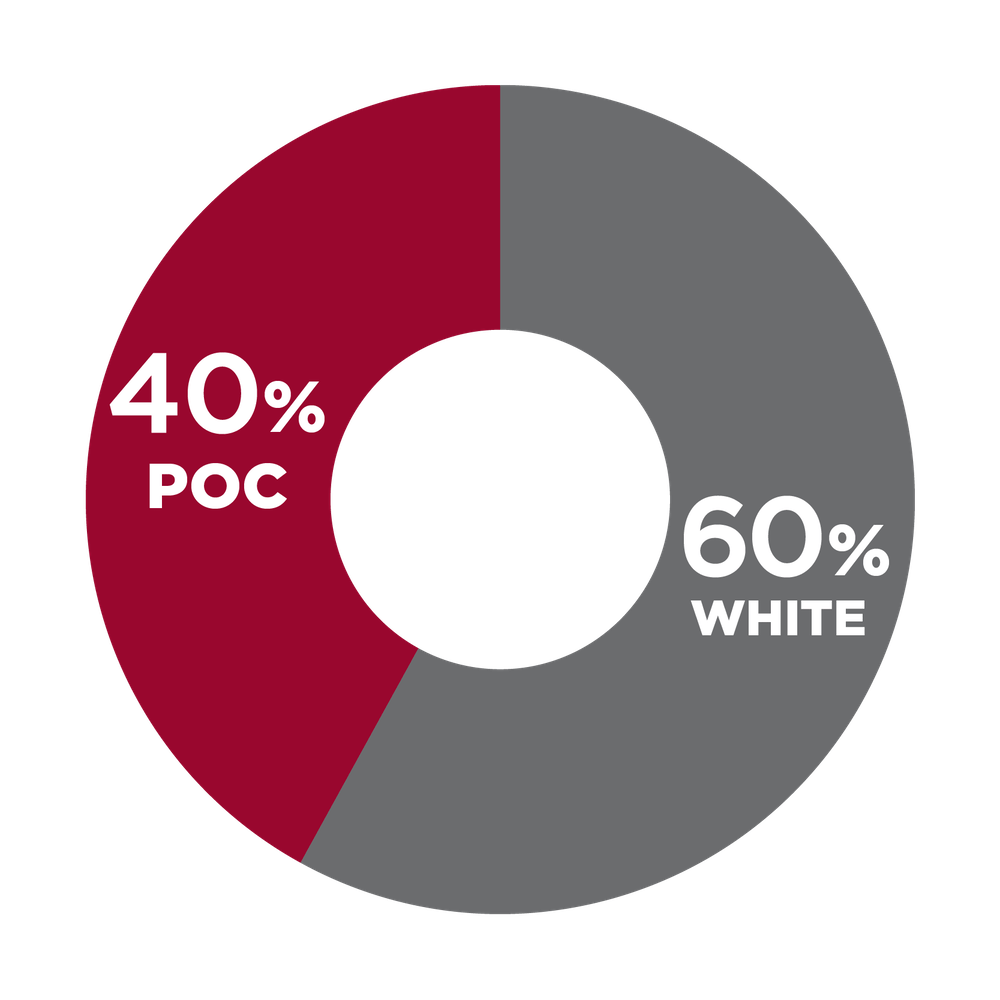 Pie chart showing racial diversity on the senior leadership team: 40% POC, 60% white