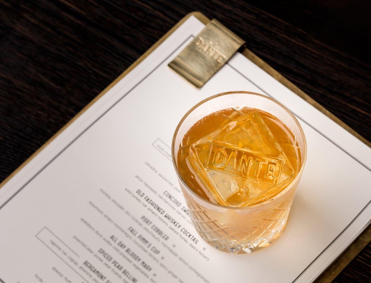 Dante's Old Fashioned over the menu