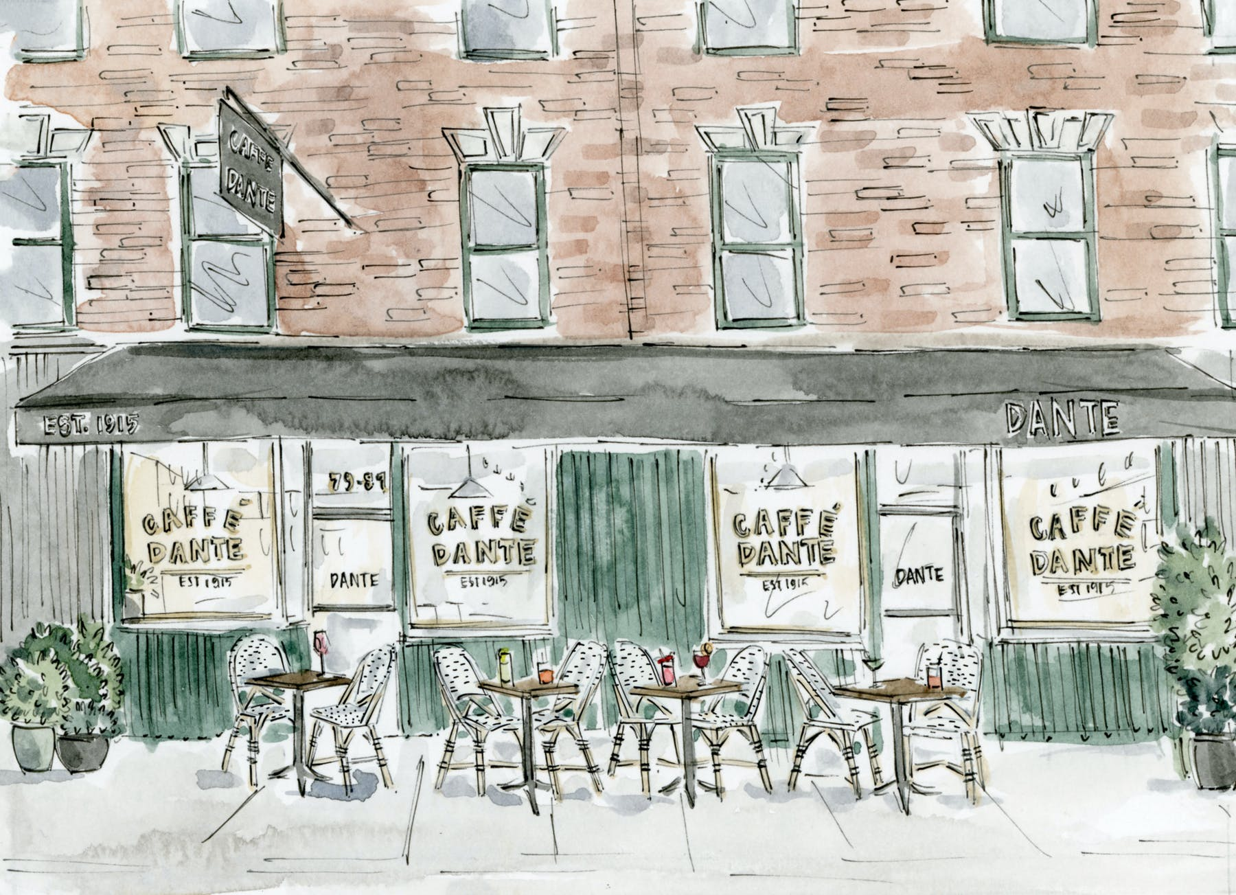 a watercolor painting of a cafe area