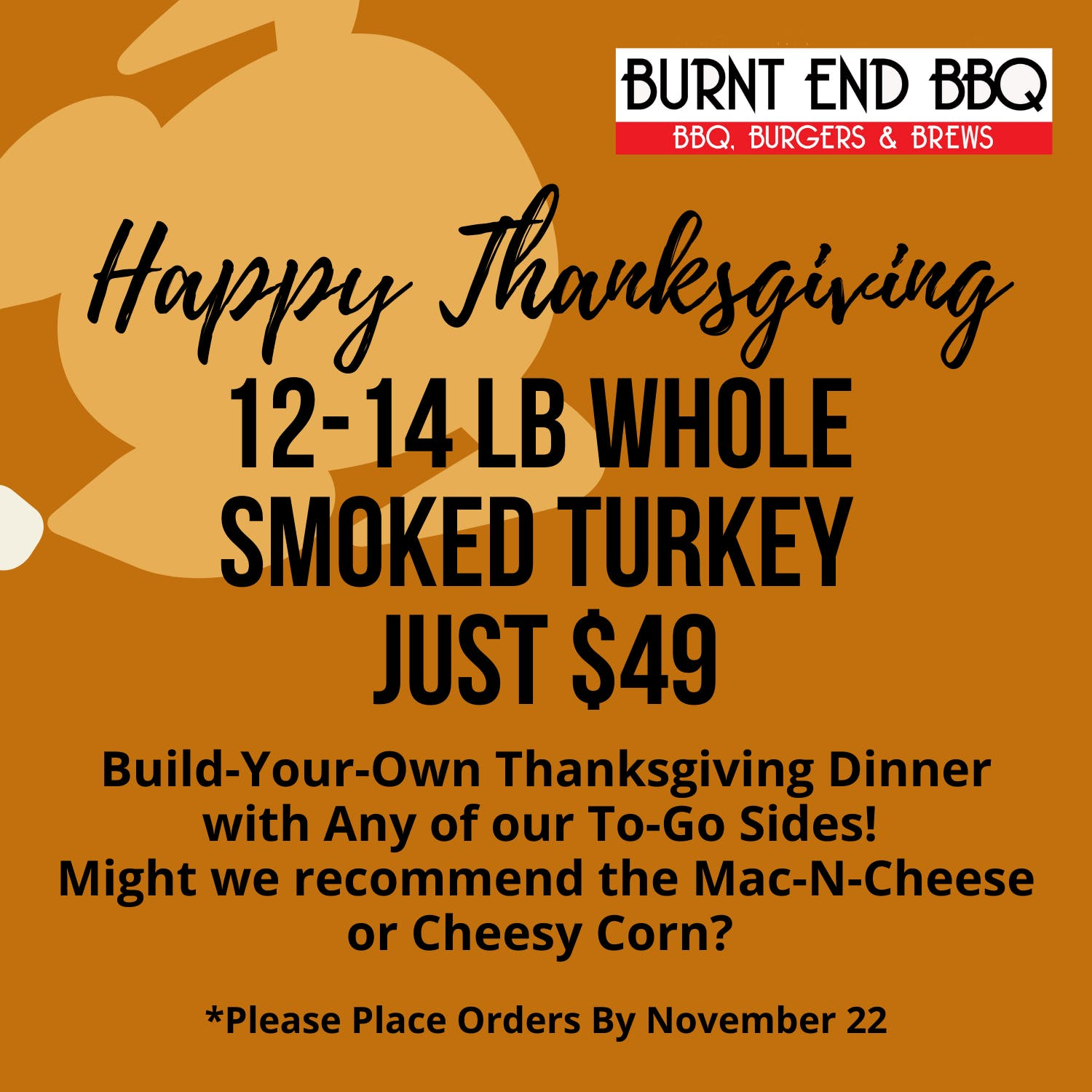 order a whole smoked turkey from burnt end bbq for just $49