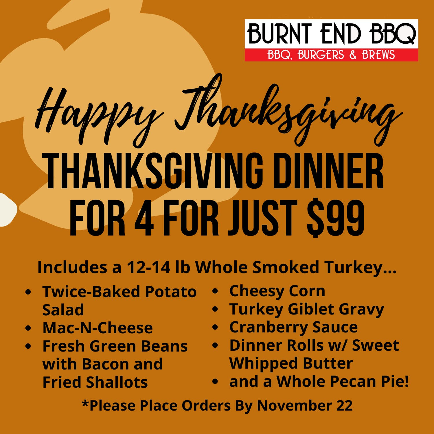 order a thanksgiving dinner for 4 from burnt end bbq for just $99