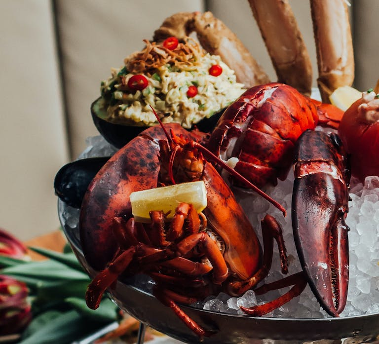 a lobster on a table