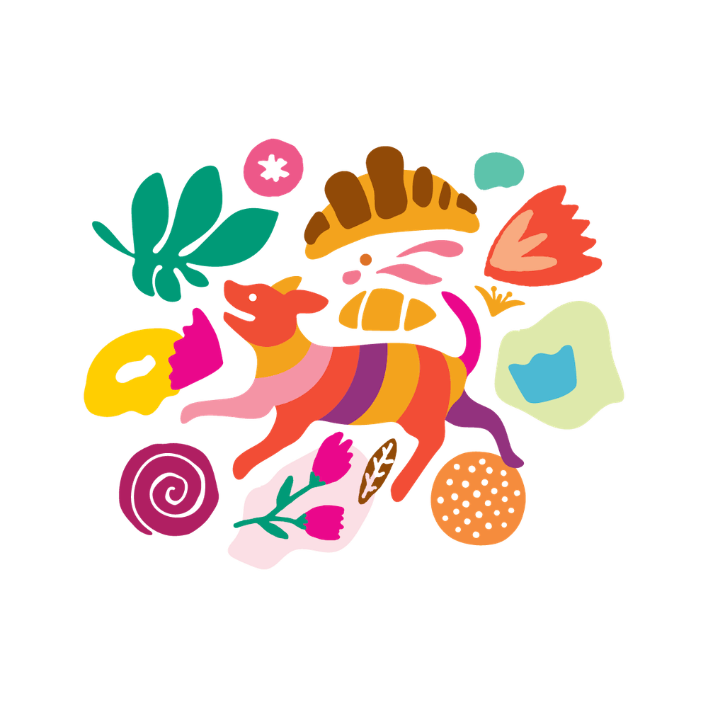 a colorful drawing of food, flowers and a dog