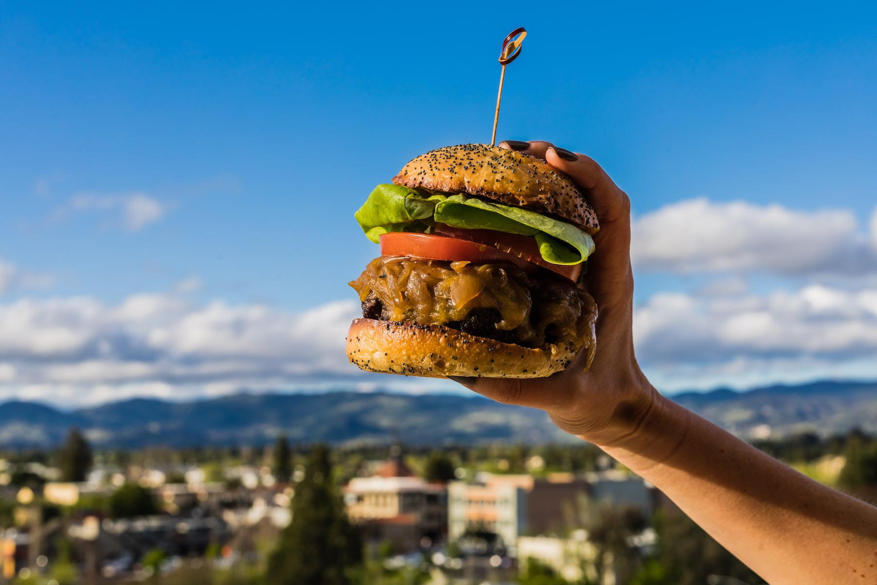 hamburger with a view