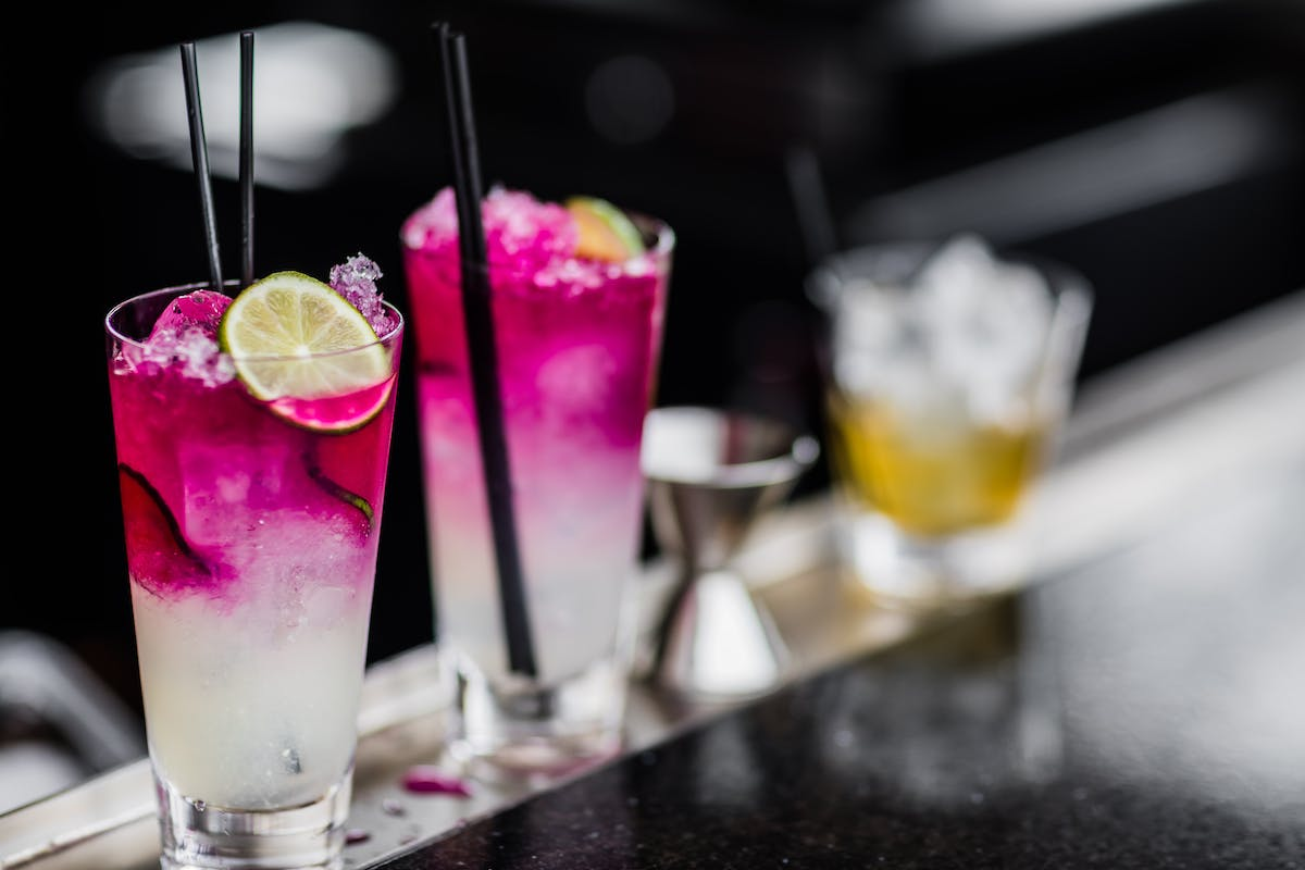 a close up of a drinks on a counter