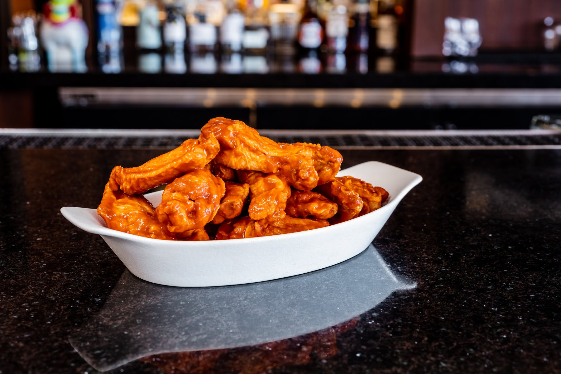 hot wings in a bowl