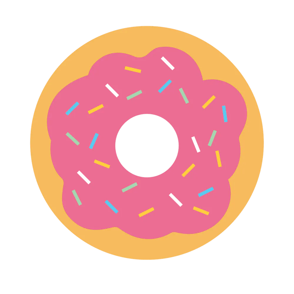 a close up of a donut logo