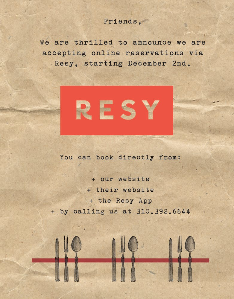 an image announcing that the tasting kitchen site is accepting online reservations through Resy