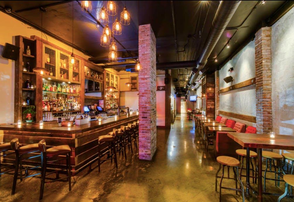 A bar at a restaurant.