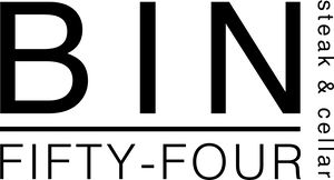 a close up of a logo of Bin Fifty Four