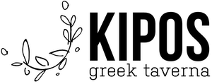 a close up of a logo of Kipos Greek Tavern