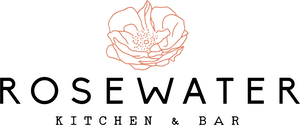 a close up of a logo of Rosewater Kitchen and Bar