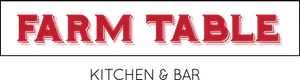 a close up of a logo of Farm Table Kitchen and Bar