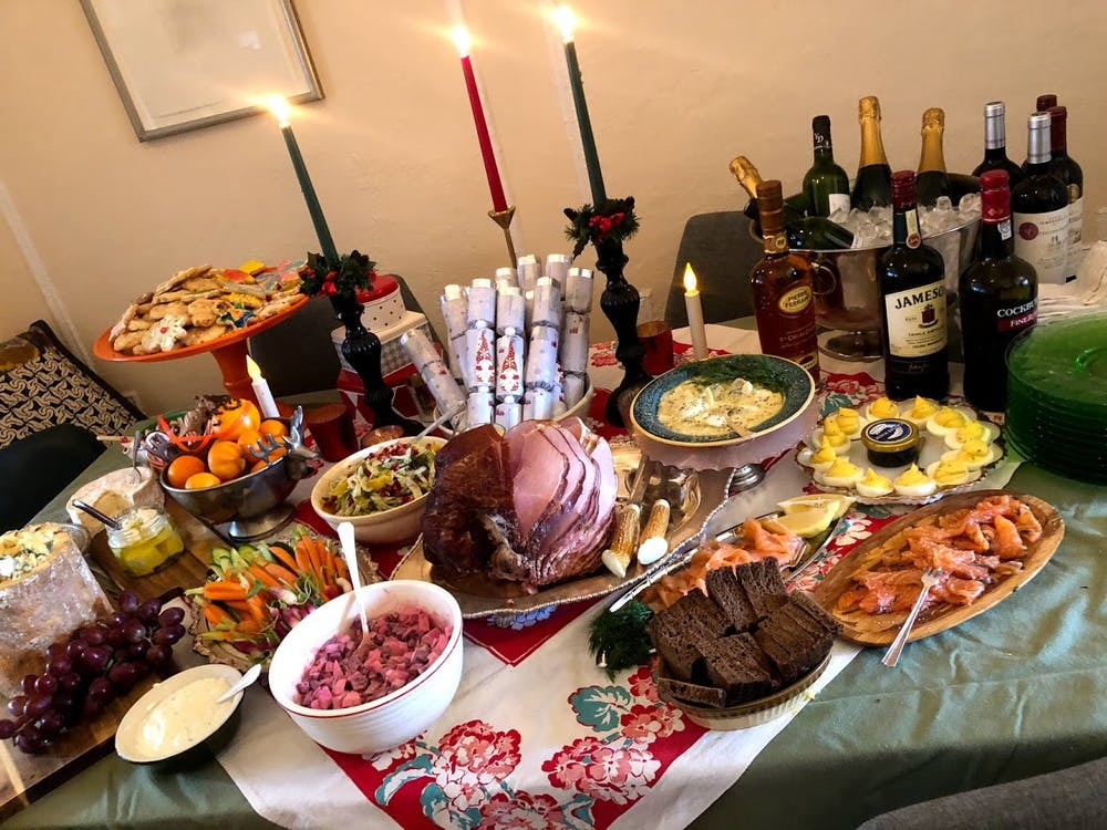 a table topped with plates of food