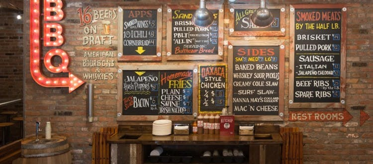 chalkboard signs on a brick wall