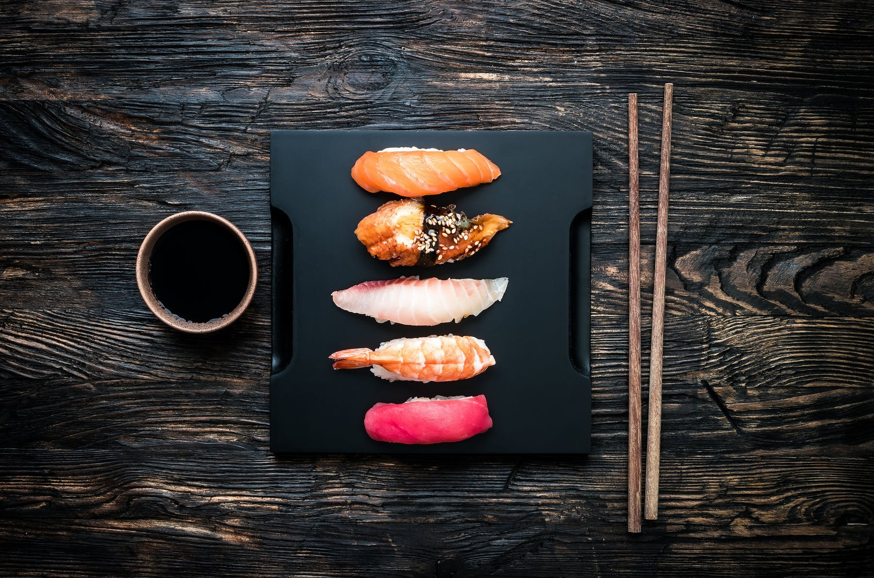 a close up of food on a wooden surface