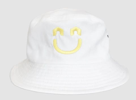 White hat with smiley face logo