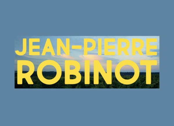 Big and bold yellow text saying Jean Pierre Robinot with a background of a grass scenery