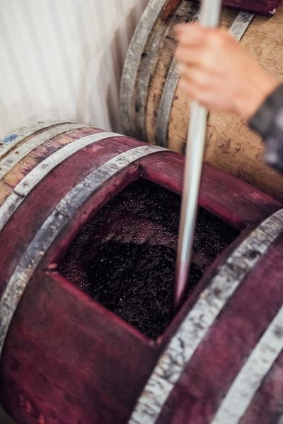 Man opening red wine barrel