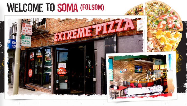 Front of Extreme Pizza on Folsom St