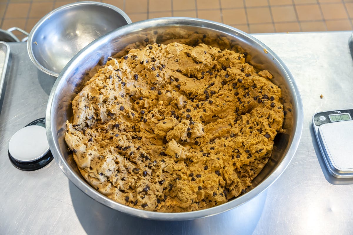 a bowl filled with cookie dough
