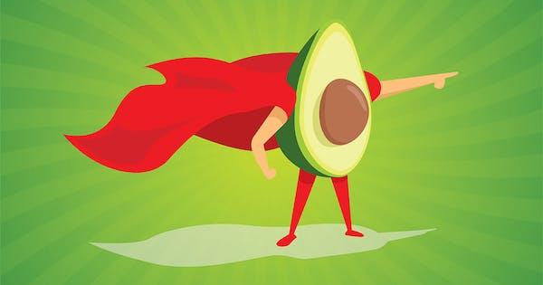 photo of a superhero avocado with a cape