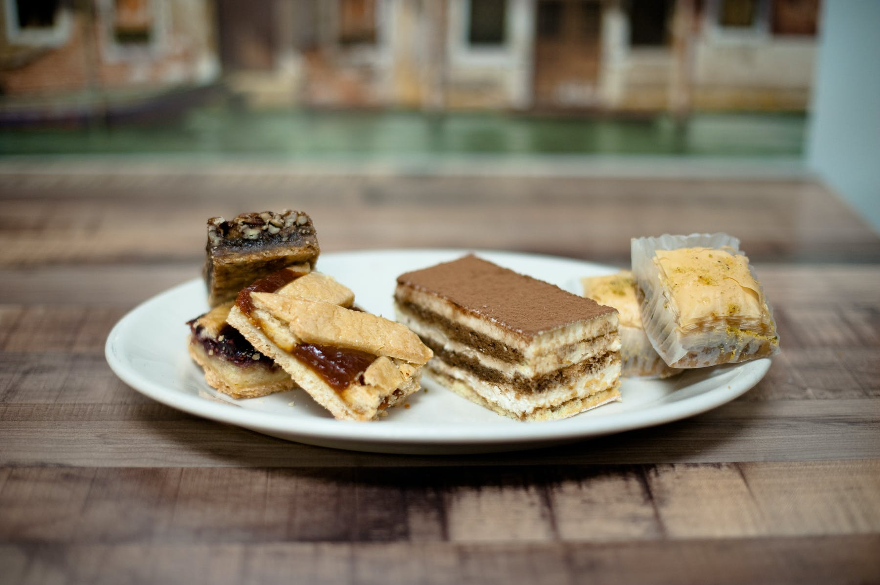 different desserts served on a plate