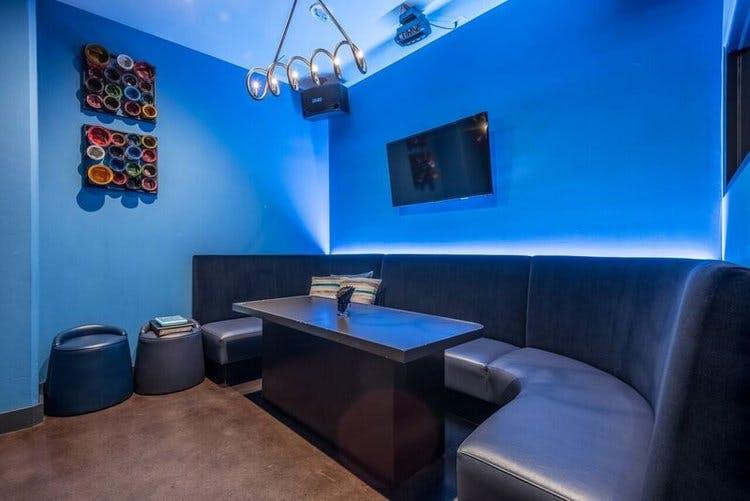 a blue room