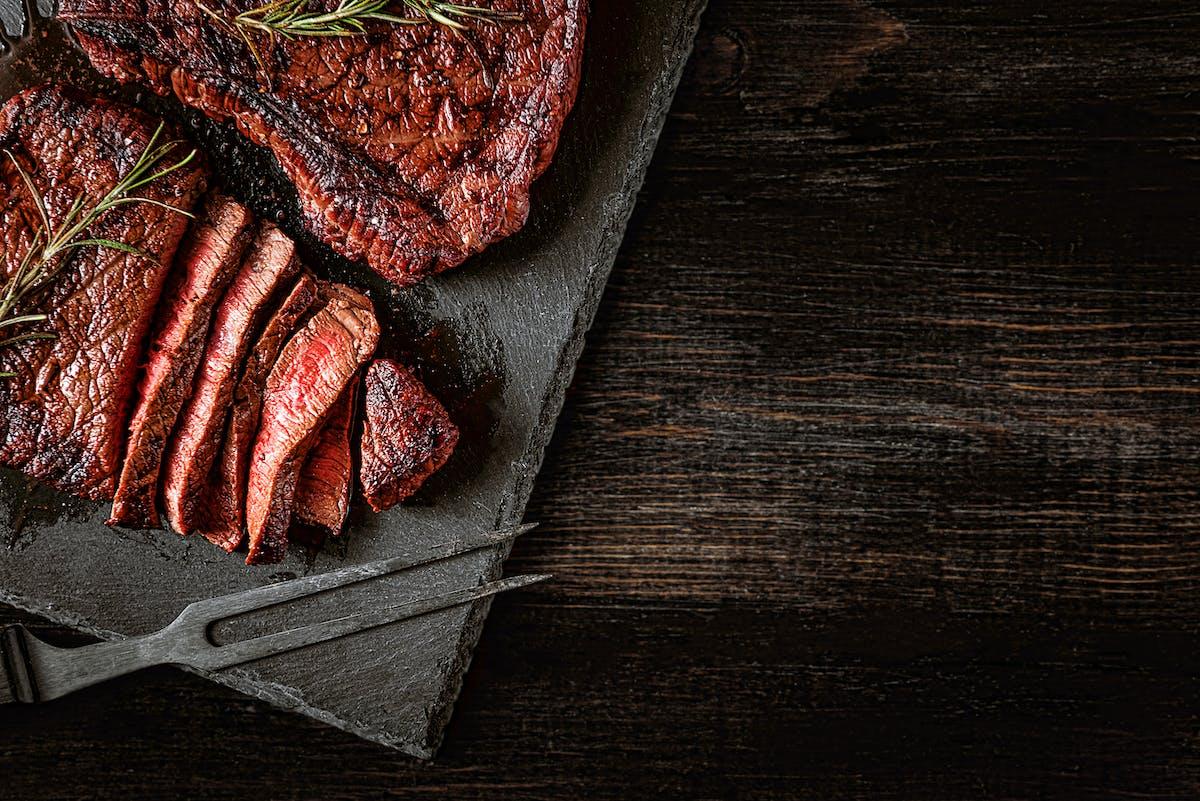 steak on table