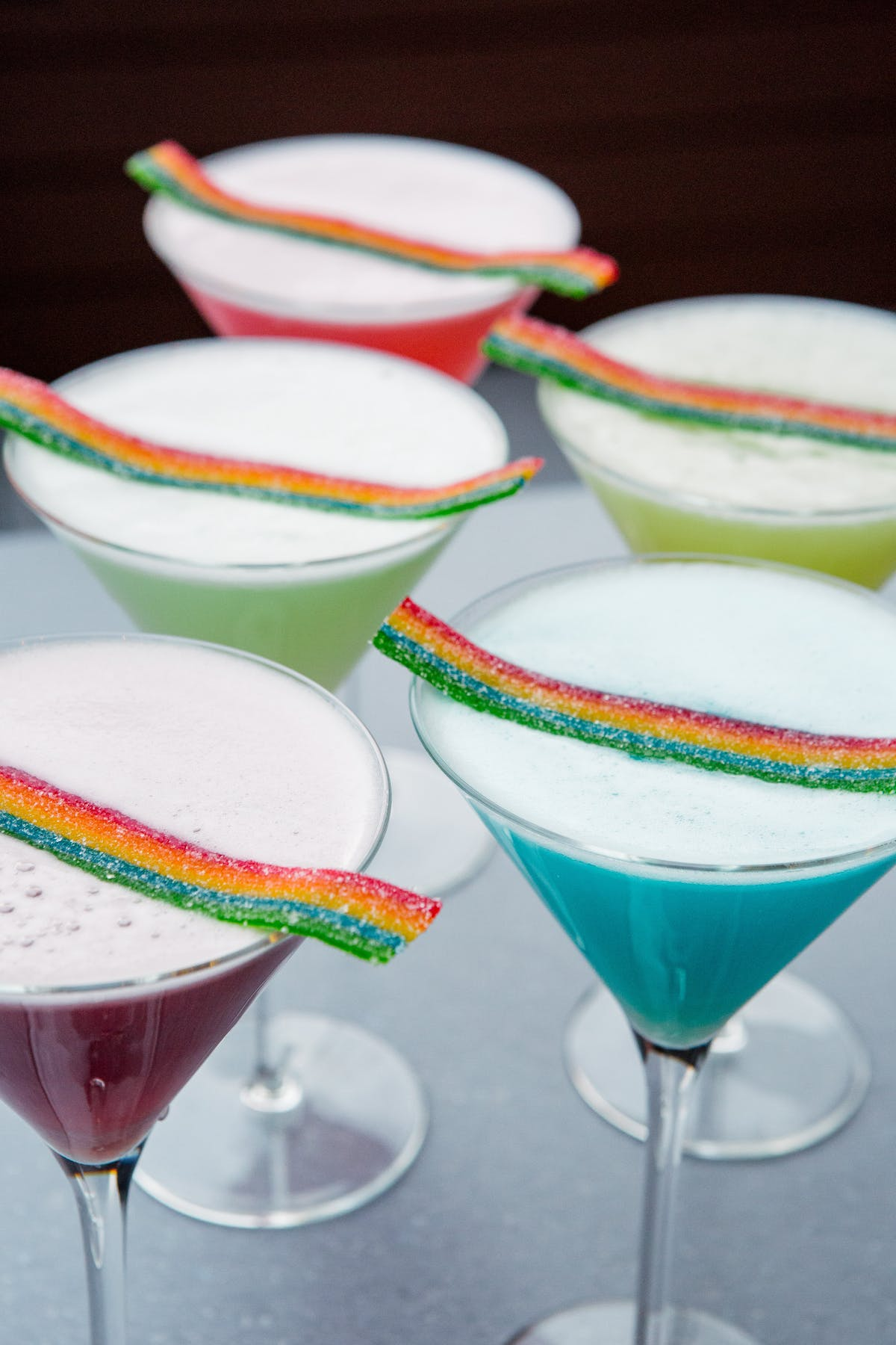 cocktails with candy on top