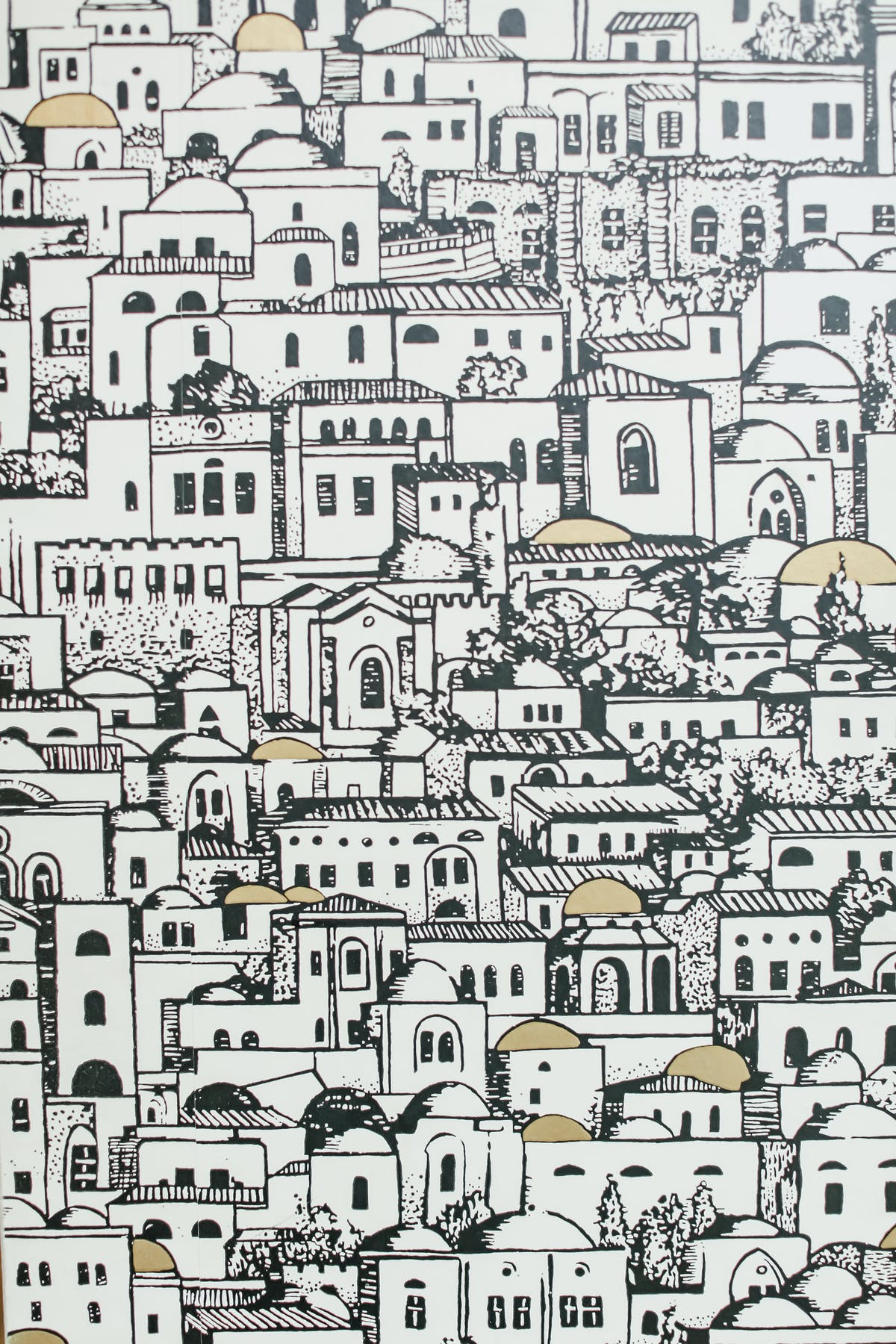 A drawing of small houses.