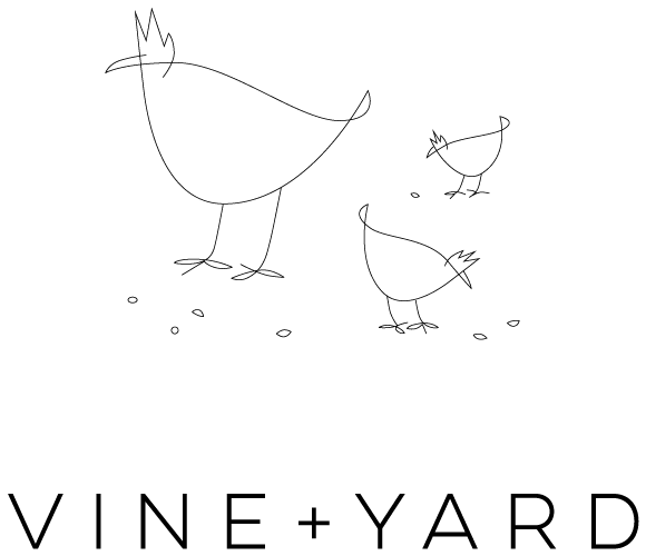 Vine + Yard restaurant bird logo.