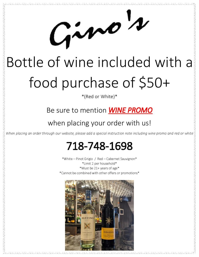 wine bottle free bottle with min $50 purchase mention wine promo