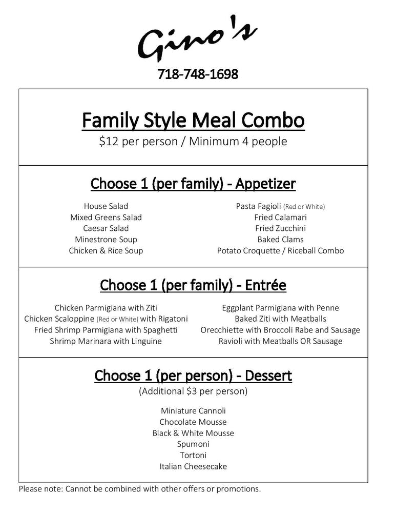 family style combo meal