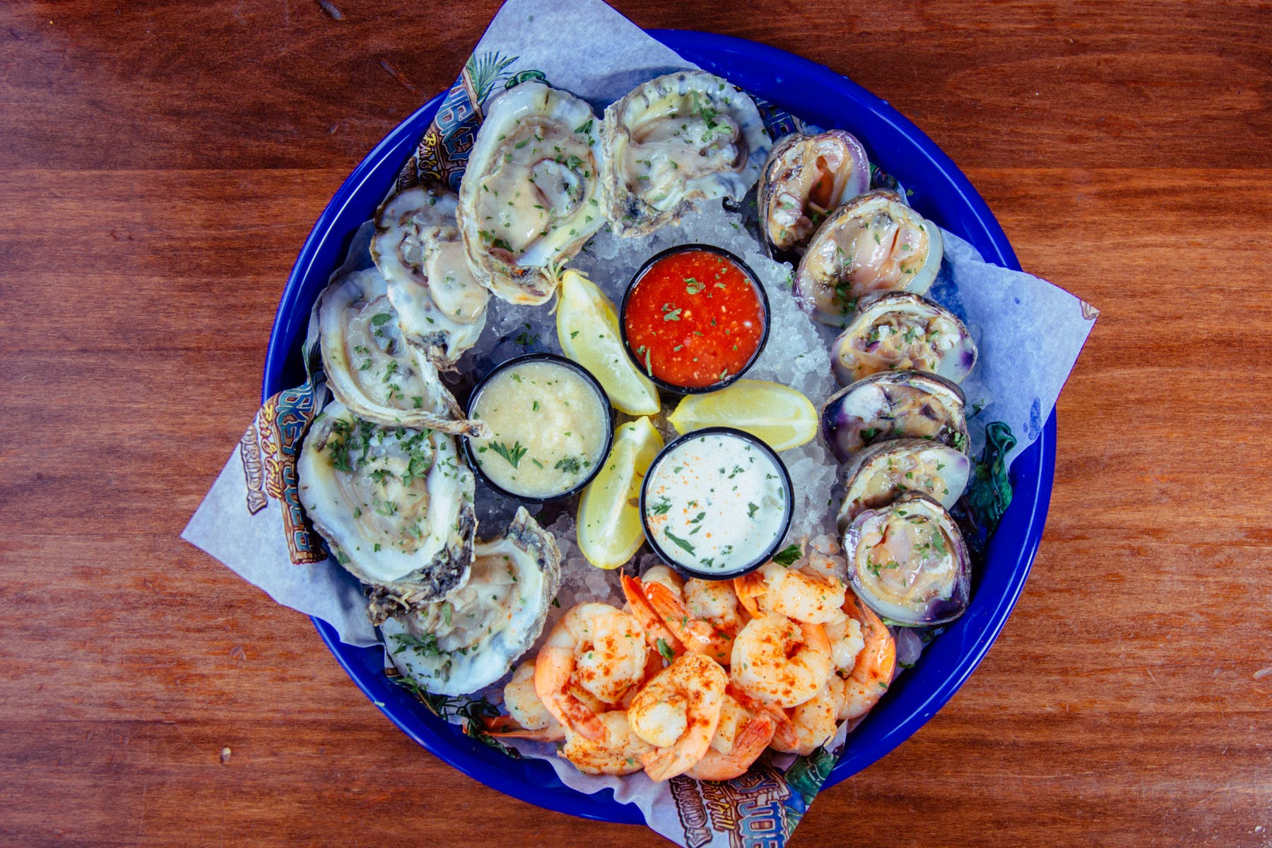 oysters and shrimp plate
